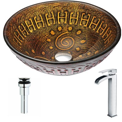 Opus Glass Circular Vessel Bathroom Sink with Faucet Faucet Finish: Polished Chrome