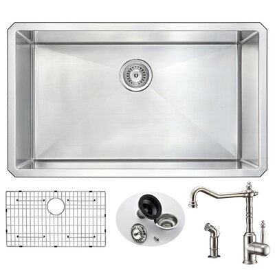 Vanguard 32 x 19 Single Bowl Undermount Kitchen Sink with Faucet and Drain Assembly Faucet Finish: Brushed Nickel