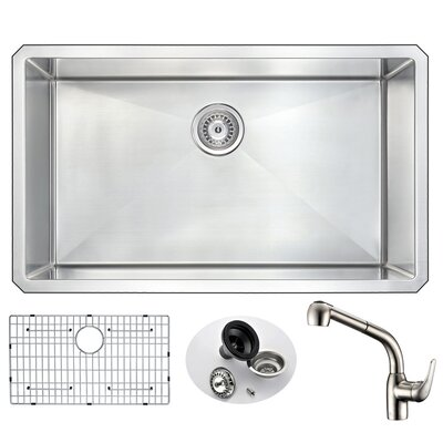 Vanguard 32 x 19 Single Bowl Undermount Kitchen Sink with Faucet Faucet Finish: Brushed Nickel