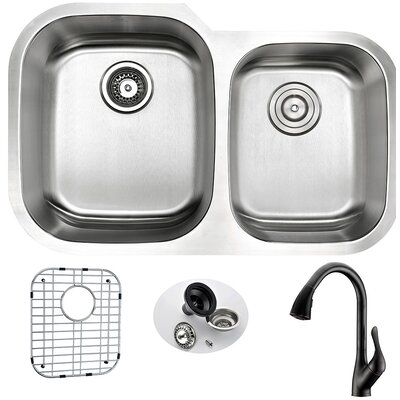 Moore 32 x 20.75 Double Bowl Undermount Kitchen Sink with Faucet and Drain Assembly Faucet Finish: Oil Rubbed Bronze