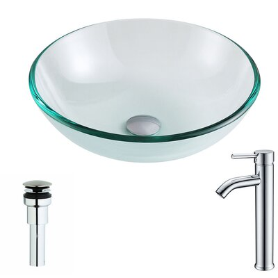Etude Glass Circular Vessel Bathroom Sink with Faucet Faucet Finish: Chrome