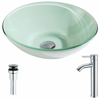 Sonata Glass Circular Vessel Bathroom Sink with Faucet Faucet Finish: Chrome