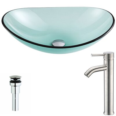 Major Glass Oval Vessel Bathroom Sink with Faucet Faucet Finish: Brushed Nickel
