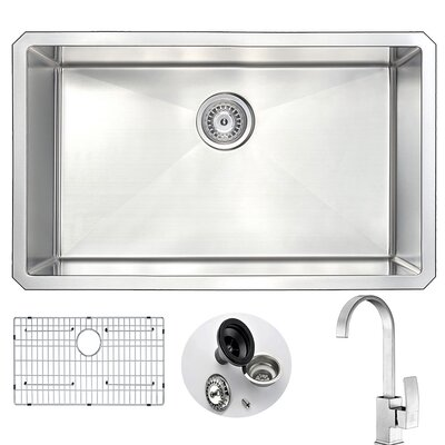 Vanguard 30 x 18 Single Bowl Undermount Kitchen Sink and Faucet Set with Drain Assembly Faucet Finish: Brushed Nickel