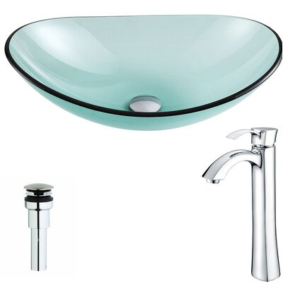 Major Glass Oval Vessel Bathroom Sink Faucet Finish: Chrome