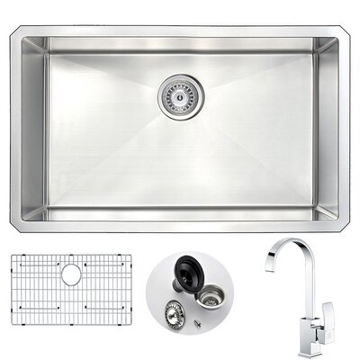Vanguard 30 x 18 Single Bowl Undermount Kitchen Sink and Faucet Set with Drain Assembly Faucet Finish: Polished Chrome