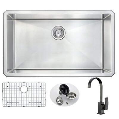 Vanguard 32 x 19 Single Bowl Undermount Kitchen Sink with Faucet Set and Drain Assembly