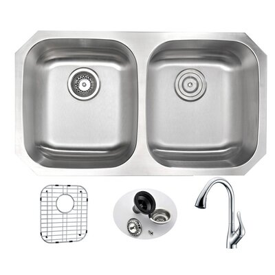Moore 32.25 x 18.5 Double Bowl Undermount Kitchen Sink with Faucet and Drain Assembly Faucet Finish: Polished Chrome