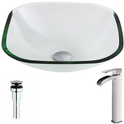 Cadenza Glass Circular Vessel Bathroom Sink with Faucet Faucet Finish: Brushed Nickel