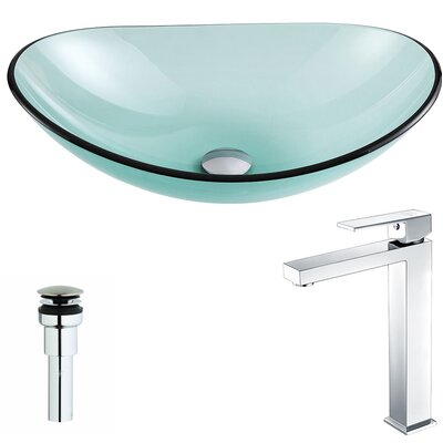 Major Glass Oval Vessel Bathroom Sink with Faucet Faucet Finish: Chrome