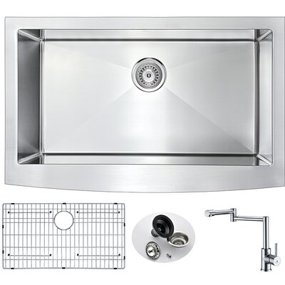 Elysian 32.875 x 20.75 Single Bowl Farmhouse Kitchen Sink with Faucet and Drain Assembly