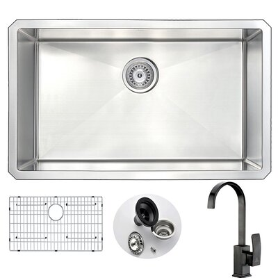 Vanguard 30 x 18 Single Bowl Undermount Kitchen Sink and Faucet Set with Drain Assembly Faucet Finish: Oil Rubbed Bronze
