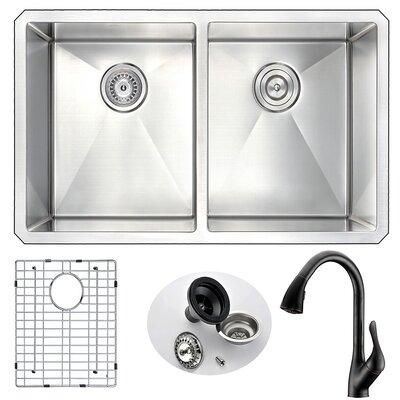 Vanguard 32 x 18 Double Bowl Undermount Kitchen Sink with Faucet Faucet Finish: Oil Bronze