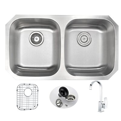 Moore 32.25 x 18.5 Double Bowl Undermount Kitchen Sink with Faucet Faucet Finish: Polished Chrome