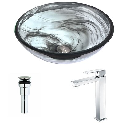 Mezzo Glass Circular Vessel Bathroom Sink with Faucet Faucet Finish: Polished Chrome