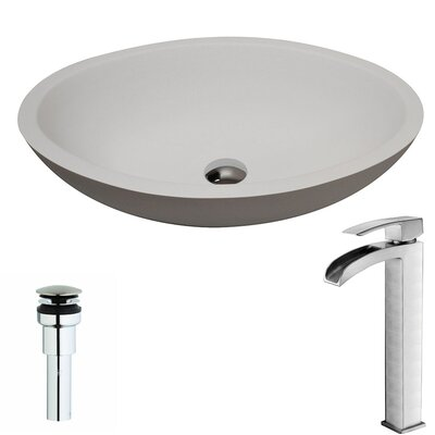 Maine Stone Oval Vessel Bathroom Sink with Faucet Faucet Finish: Brushed Nickel