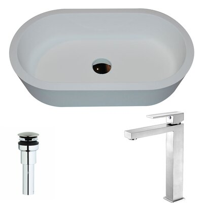 Vaine Stone Oval Vessel Bathroom Sink with Faucet Faucet Finish: Brushed Nickel