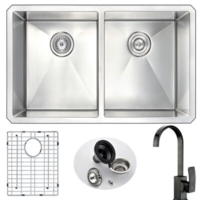Vanguard 32 x 18 Double Bowl Undermount Kitchen Sink and Faucet Faucet Finish: Oil Rubbed Bronze