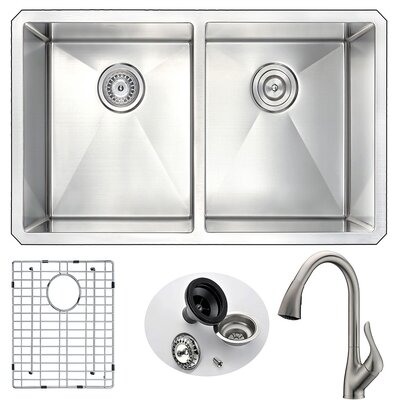 Vanguard 32 x 18 Double Bowl Undermount Kitchen Sink with Faucet Faucet Finish: Brushed Nickel