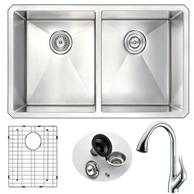 Vanguard 32 x 18 Double Bowl Undermount Kitchen Sink with Faucet Faucet Finish: Polished Chrome