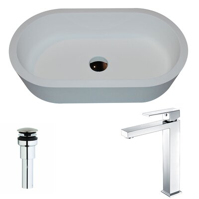 Vaine Stone Oval Vessel Bathroom Sink with Faucet Faucet Finish: Chrome