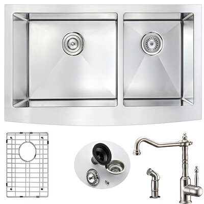 Elysian 35.88 x 20.75 Double Bowl Farmhouse Kitchen Sink with Faucet Faucet Finish: Brushed Nickel