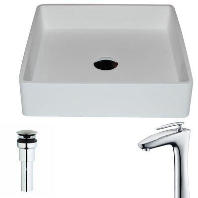 Passage Stone Square Vessel Bathroom Sink with Faucet