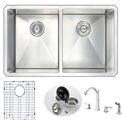 Vanguard 32 x 18 Double Bowl Undermount Kitchen Sink and Faucet Faucet Finish: Brushed Nickel