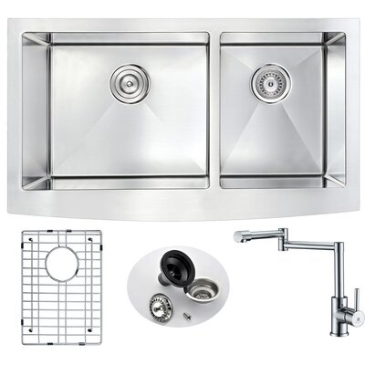 Elysian 32.88 x 20.75 Double Bowl Farmhouse Kitchen Sink with Faucet