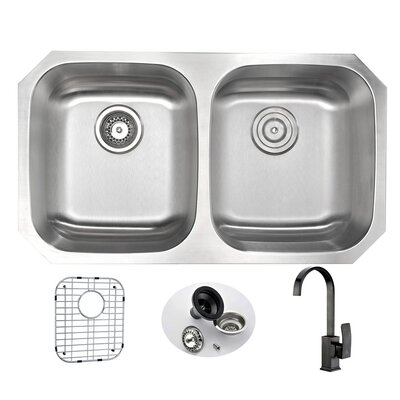 Moore 32.25 x 18.5 Double Bowl Undermount Kitchen Sink with Faucet Faucet Finish: Oil Rubbed Bronze
