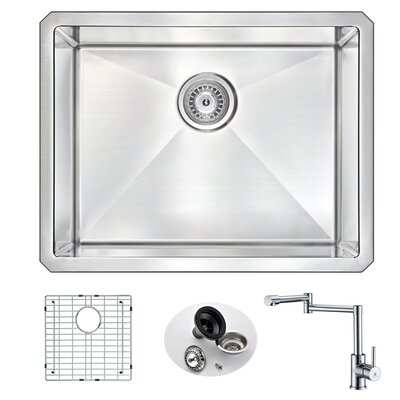 Vanguard 23 x 18 Single Bowl Undermount Kitchen Sink with Faucet