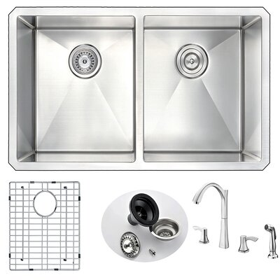 Vanguard 32 x 18 Double Bowl Undermount Kitchen Sink and Faucet Faucet Finish: Polished Chrome