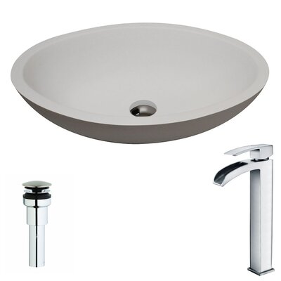 Maine Stone Oval Vessel Bathroom Sink with Faucet Faucet Finish: Polished Chrome