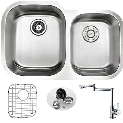 Moore 32 x 20.75 Double Bowl Undermount Kitchen Sink with Faucet and Drain Assembly