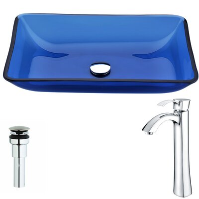 Harmony Glass Rectangular Vessel Bathroom Sink with Faucet Faucet Finish: Chrome