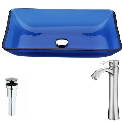 Harmony Glass Rectangular Vessel Bathroom Sink with Faucet Faucet Finish: Brushed Nickel