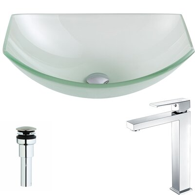 Pendant Glass Specialty Vessel Bathroom Sink with Faucet Faucet Finish: Polished Chrome