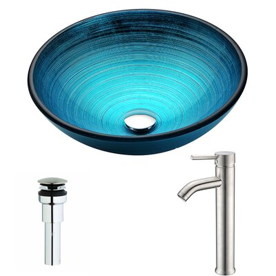 Enti Glass Circular Vessel Bathroom Sink with Faucet Faucet Finish: Brushed Nickel