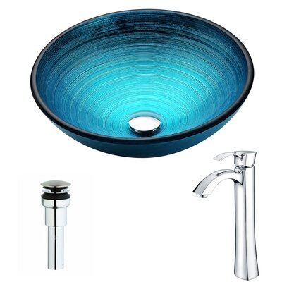 Enti Glass Circular Vessel Bathroom Sink with Faucet Faucet Finish: Polished Chrome