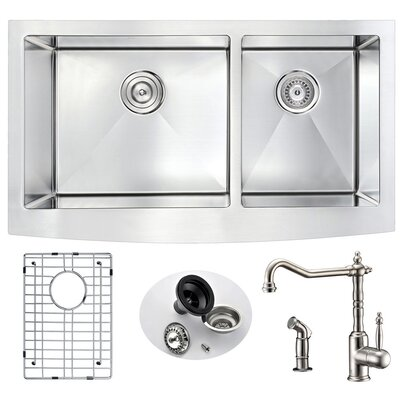 Elysian 32.88 x 20.75 Double Bowl Farmhouse Kitchen Sink with Faucet Faucet Finish: Brushed Nickel