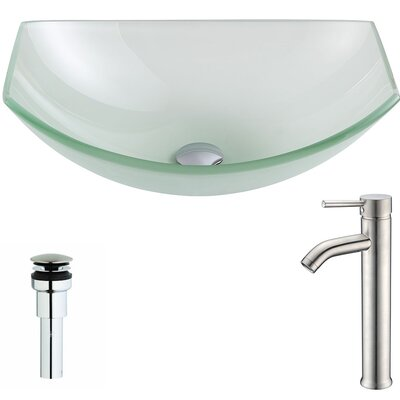 Pendant Glass Specialty Vessel Bathroom Sink with Faucet Faucet Finish: Brushed Nickel