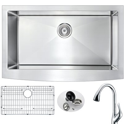 Elysian 32.88 x 20.75 Single Bowl Farmhouse Kitchen Sink with Faucet Faucet Finish: Polished Chrome