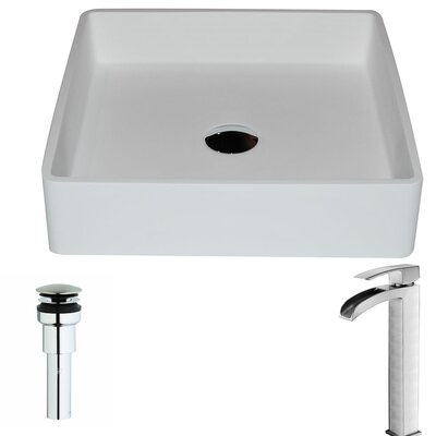 Passage Stone Square Vessel Bathroom Sink with Faucet Faucet Finish: Brushed Nickel