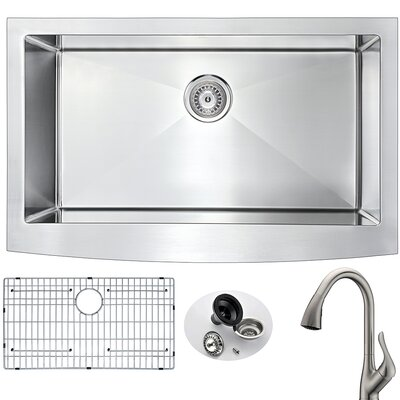Elysian 32.88 x 20.75 Single Bowl Farmhouse Kitchen Sink with Faucet Faucet Finish: Brushed Nickel