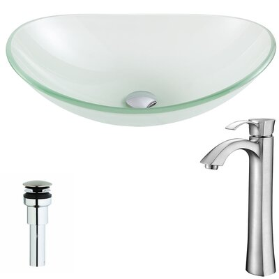 Forza Glass Oval Vessel Bathroom Sink with Faucet Faucet Finish: Brushed Nickel