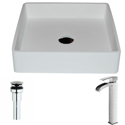 Passage Stone Square Vessel Bathroom Sink with Faucet Faucet Finish: Polished Chrome