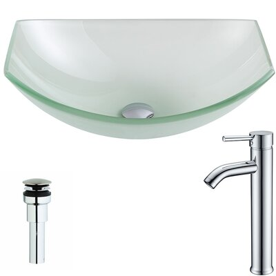 Pendant Glass Specialty Vessel Bathroom Sink with Faucet Faucet Finish: Chrome