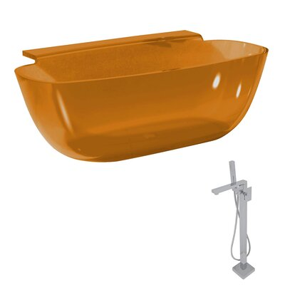 Vida 62 x 32 Freestanding Soaking Bathtub Color: Honey Amber