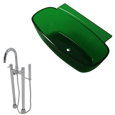 Vida 62 x 32 Freestanding Soaking Bathtub Color: Emerald Green