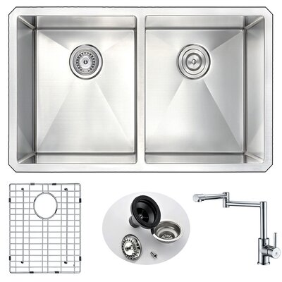 Vanguard 32 x 18 Double Bowl Undermount Kitchen Sink and Faucet